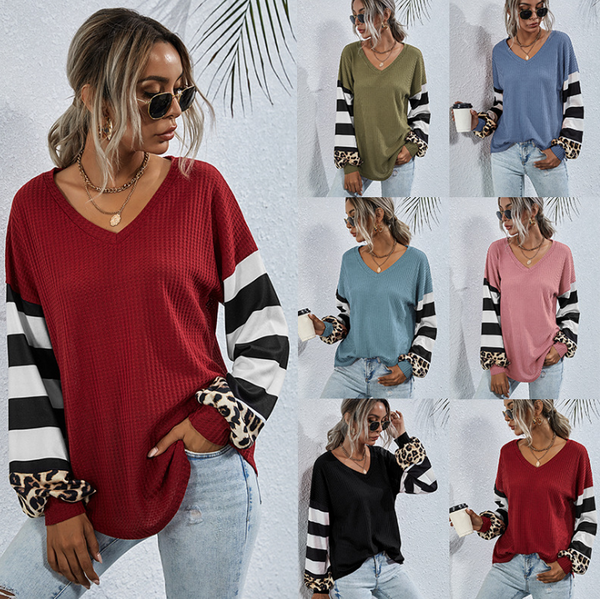Women Casual Long Sleeve V Neck Striped T Shirt Blouse