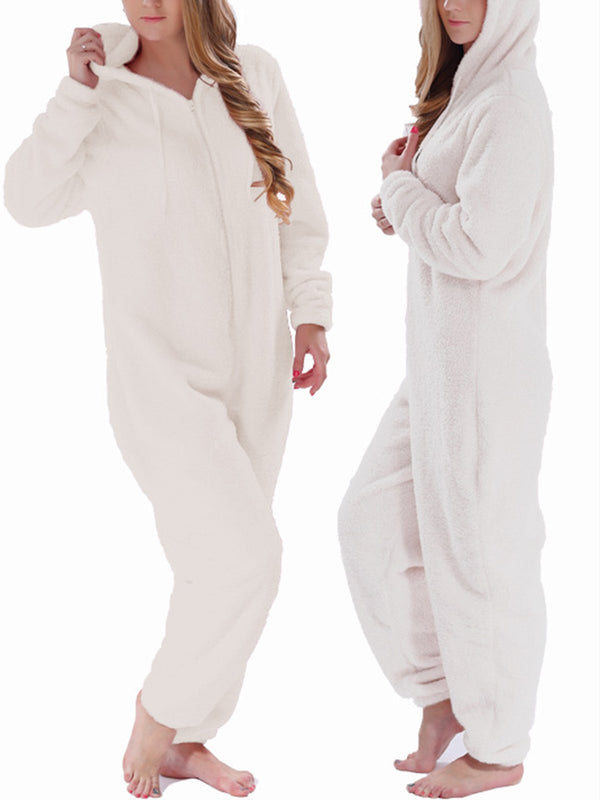 Hooded Zigzag Casual Plain Sleepwear Pajamas