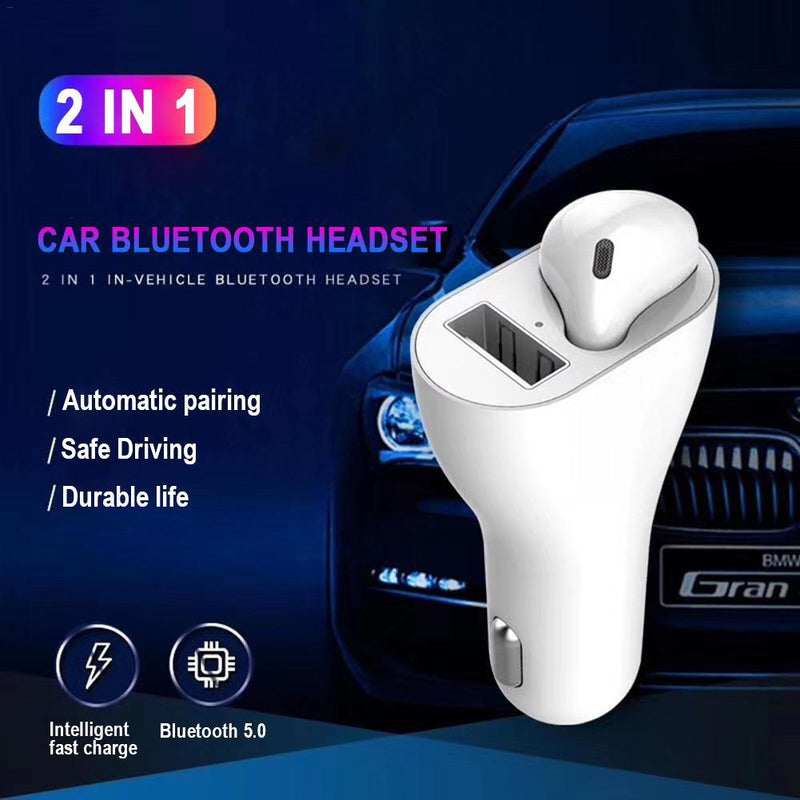 2 in 1 Usb Car Charger Car Wireless Bluetooth 5.0 Earphone USB Port Car Cigarette Lighter Charging Automatic Pairing Touch Control Earbuds With Mic For iPhone Samsung