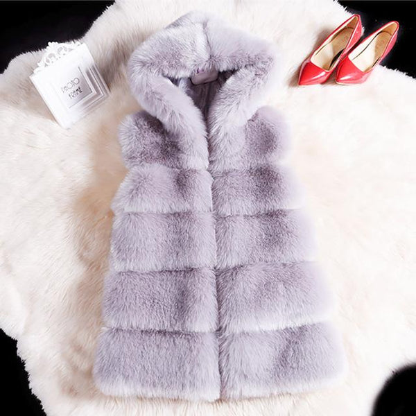 Women Casual Hoodies Warm Slim Sleeveless Fur Vest