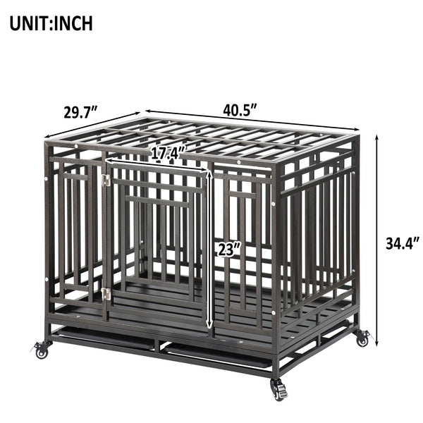 Large Heavy Duty Dog Crate Cage Kennel Strong Metal Frame Kennel Durable Indoor & Outdoor Kennel for Large Dogs