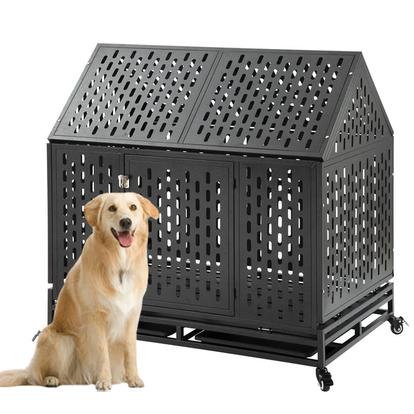 "Extra Large Dog Crate Heavy Duty Dog Crate Dog Kennel With Roof,44.5"" LX 29.5"" WX 43.3"" H XL XXL  Strong Metal Cage for Training Dog & Pet, Easy to Assemble with Patent Lock & 4 Lockable Wheel, Removable Tray for Indoor Outdoor"