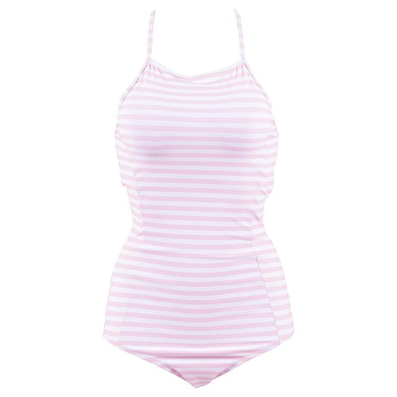 Cammy - Cream Striped Lace Up Back One Piece Swimsuit