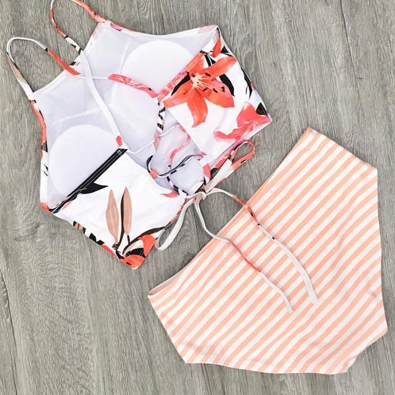 Nina - Floral Stripped High Neck & High Waist Bikini