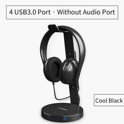 Headset Headphone stand Holder With 4 Ports of Usb 3.0 Hub Display Audio Port For Bracket and Headphone Cable Storage
