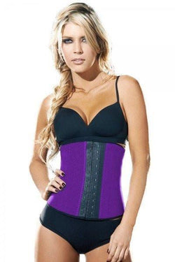 9 STEEL BONED PURPLE LATEX WAIST TRAINER