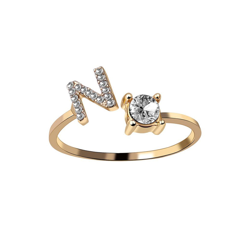 Initial Letter Ring Adjustable Open Ring A-Z 26 Letters Crystal Finger Ring