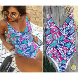 Lyn - One Piece V-Neck Multi Color Leaf Swimsuit