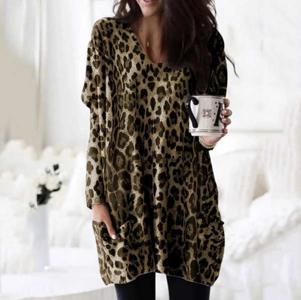 Fashion Plus Size Leopard Print Women T-shirt Long Sleeve V-Neck Pullover Female Pocket Long Tops Casual Loose Autumn T Shirts