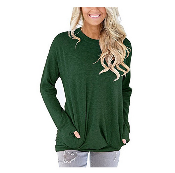 Womens Crewneck Sweatshirt Casual Loose Fitting Tops Long Sleeve T Shirt