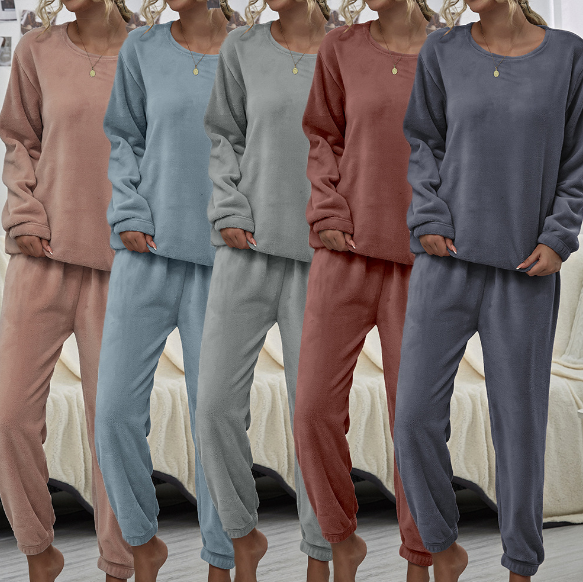Autumn Winter Warm Plush Fashion Suit Home Wear Pajama Set