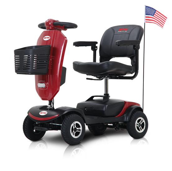 Ultra lightweight 4 wheels electric scooter ewheels mobility scooter with windshield for adults(Red)