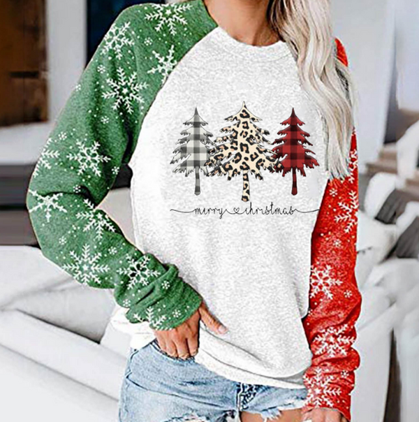 Women's Christmas Silent Night Holy Night Plaid  Print Contrast Top