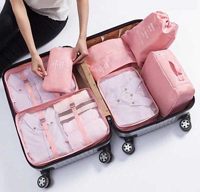 7 Set Packing Cubes Travel Luggage Clothes Bags with Shoes Drawstring Bag