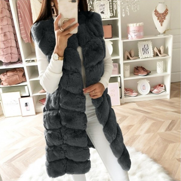 Warm Sleeveless High Quality Faux Fur Fur Coat
