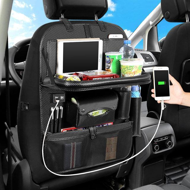 PU Leather Car Seat Organizer  with Foldable Table Tray and 4 USB Ports