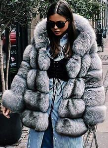 Long Sleeve Hooded Fur Coats