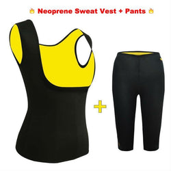 2 Pack : Neoprene Body Shaper Slimming Sweat Vest + Stretch Pants