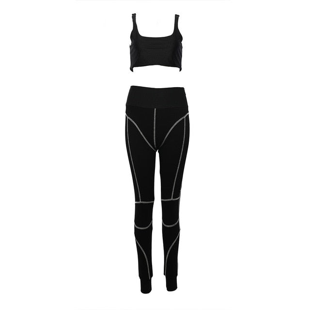 Tina Beauty Kylie Set Gymwear Outfits Two Piece Set Square Neck Midriff Bustier & Stretch Full Length Hash Line Pant Sweat Set