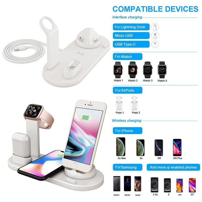 6 in 1 Wireless Smart Charge Station For All Your Devices (iPhone/iWatch/Samsung/Pixel 3)
