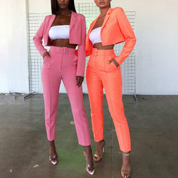 Neon Fashion Suit Autumn New Women Set Chic Streetwear with Belt Short Blazer Coat High Waist Pants Women Two Piece Outfits