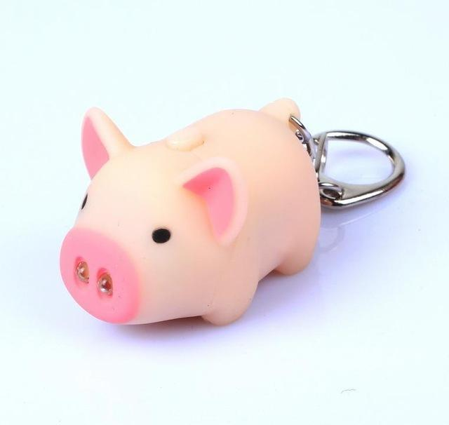 Cartoon Pig LED Torch and OINK Keychain