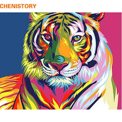 CHENISTORY Colorful Tiger Animals DIY Painting By Numbers Kits Paint On Canvas Hand Painted Oil Paint For Home Wall Decor 40x50
