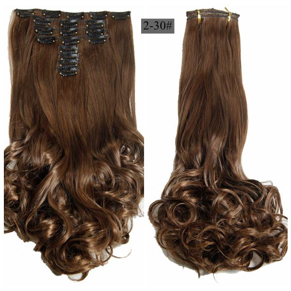"Luxury For Braiding 50cm 8pcs/set 20"" Heat Resistant Synthetic Clip Ins Hairpieces Wavy Synthetic Clip On Hair Extensions"