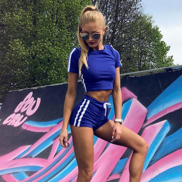 Sexy Striped Workout Tracksuit 2 Piece Set
