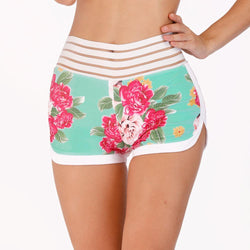 High Waist Summer Floral Pocket Workout Booty Shorts