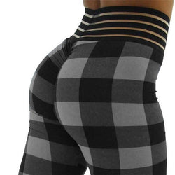 High Waist Designer Checkered Dreams Push Up Fitness Leggings