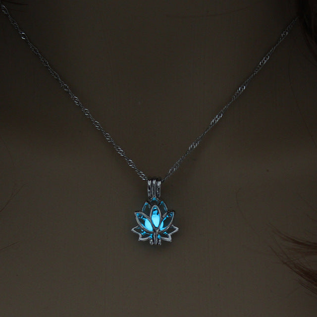 Luminous Glowing In The Dark Moon Lotus Flower Shaped Pendant Necklace