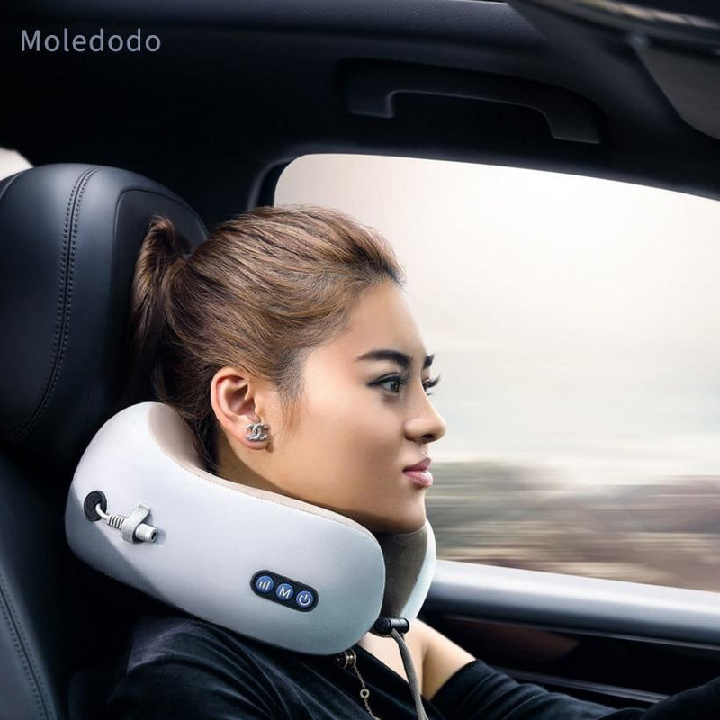 Moledodo U-shaped Massager Pillow Portable Outdoor Travel Leisure Massage Pillow Home Office and Car Neck Back Massage Pillow
