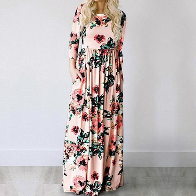 Floral Print Boho Beach Long Dress