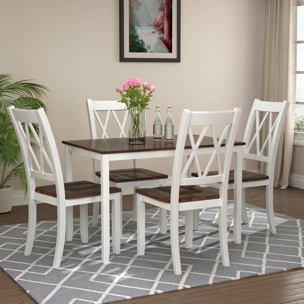 5-Piece Dining Table Set Home Kitchen Table and Chairs Wood Dining Set (White+Cherry)