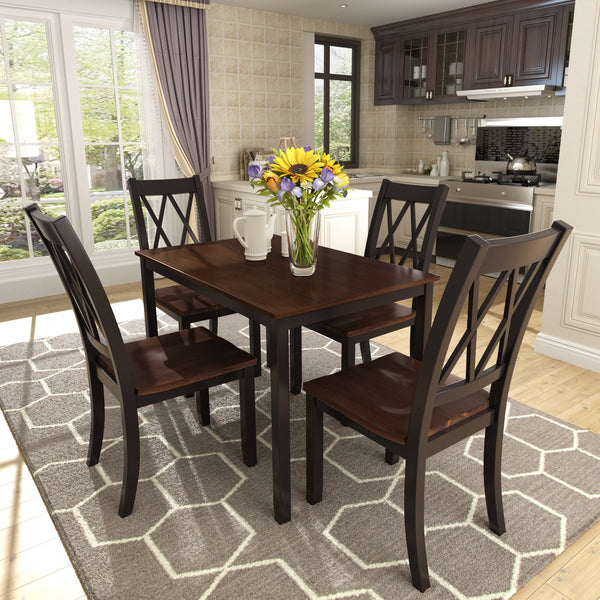 5-Piece Dining Table Set Home Kitchen Table and Chairs Wood Dining Set (Black+Cherry)