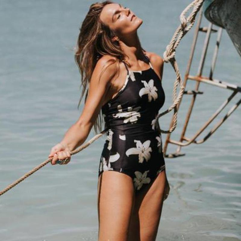 Bella - White Flowers Lace Up Back One Piece Black Swimsuit