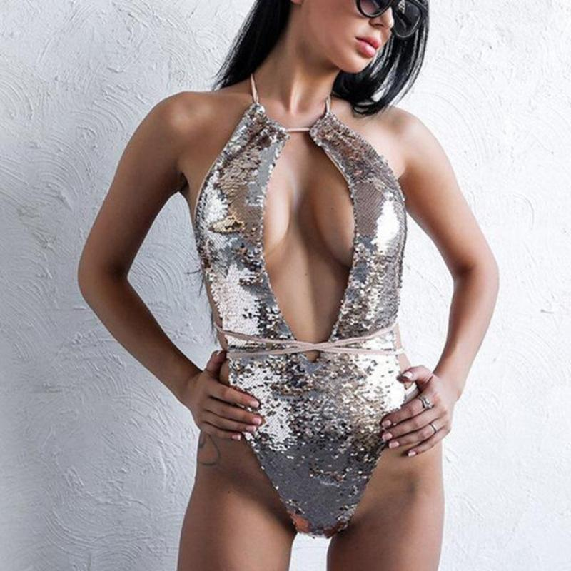 Sexy Sequin Monokini  - Bandage Bathing Suit Trikini - Brazilian Swimsuit