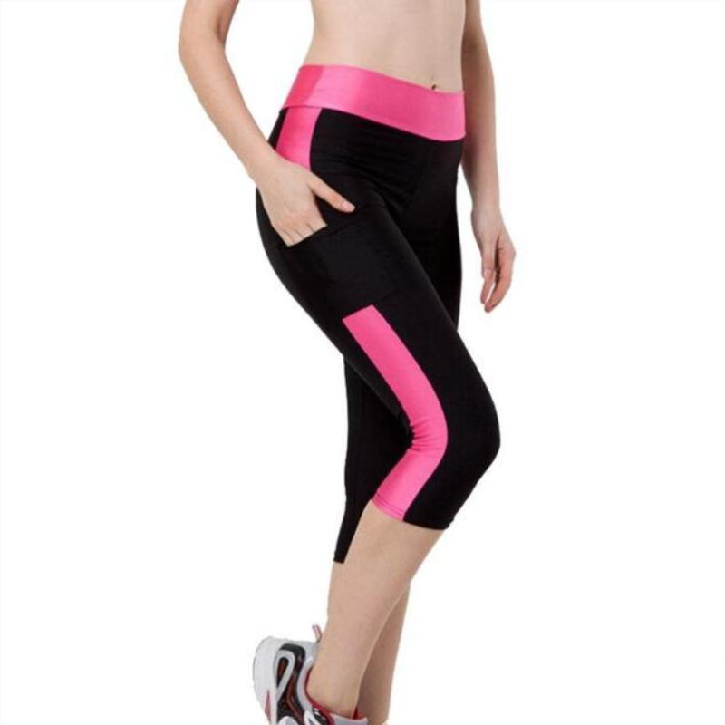 2 PACK : Capri  Quick Dry Compression Leggings With Pocket For Phone (10 Colors)