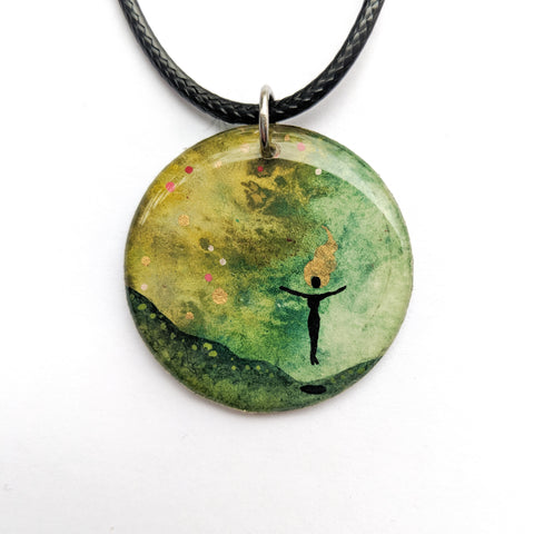 """Levitation in Green"" Pendant ORIGINAL"