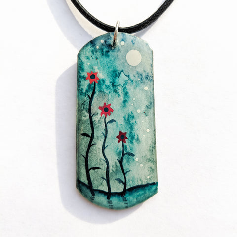 """Flowers and Turquoise Skies"" Pendant ORIGINAL"
