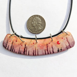 """Sunset Forest Walk"" Wide Pendant ORIGINAL"