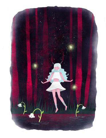 """Elara in the Mystical Forest"" Wall Art **PRINT**"