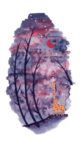 """Giraffe in Purple"" Wall Art **PRINT**"