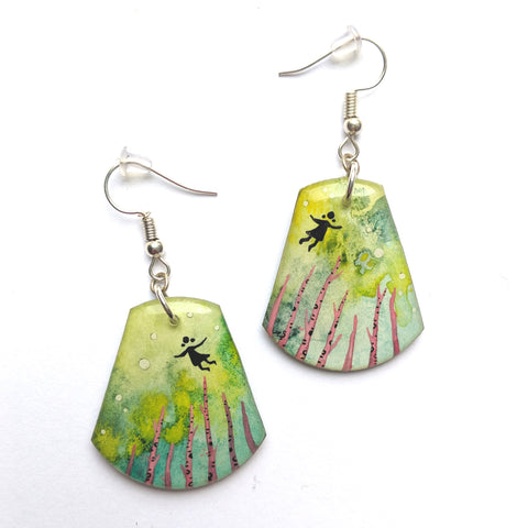 """Flying Over A Pink Forest"" Earrings ORIGINAL"