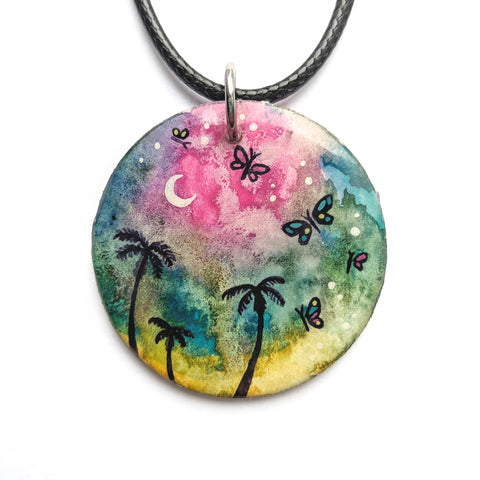 """Rainbow  Butterfly Palms"" Pendant ORIGINAL"