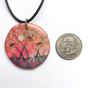 """Walking in the Flowers"" Pendant ORIGINAL"