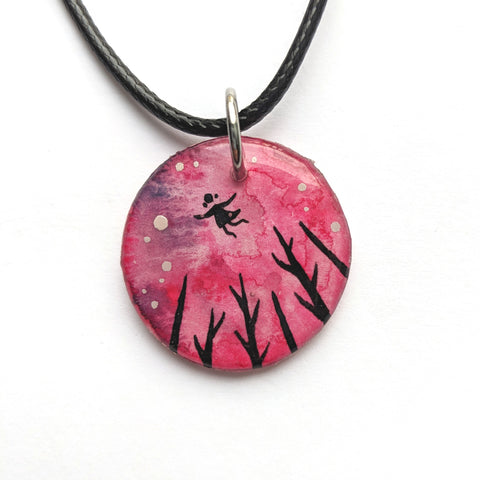 """Flying in Pink"" Pendant ORIGINAL"
