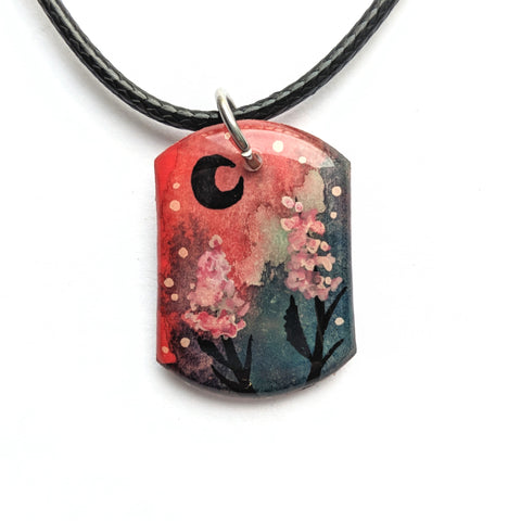 """Light Pink Flowers"" Pendant ORIGINAL"