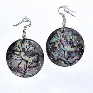 """Rainbow Tree Black Sky"" Earrings PRINT"